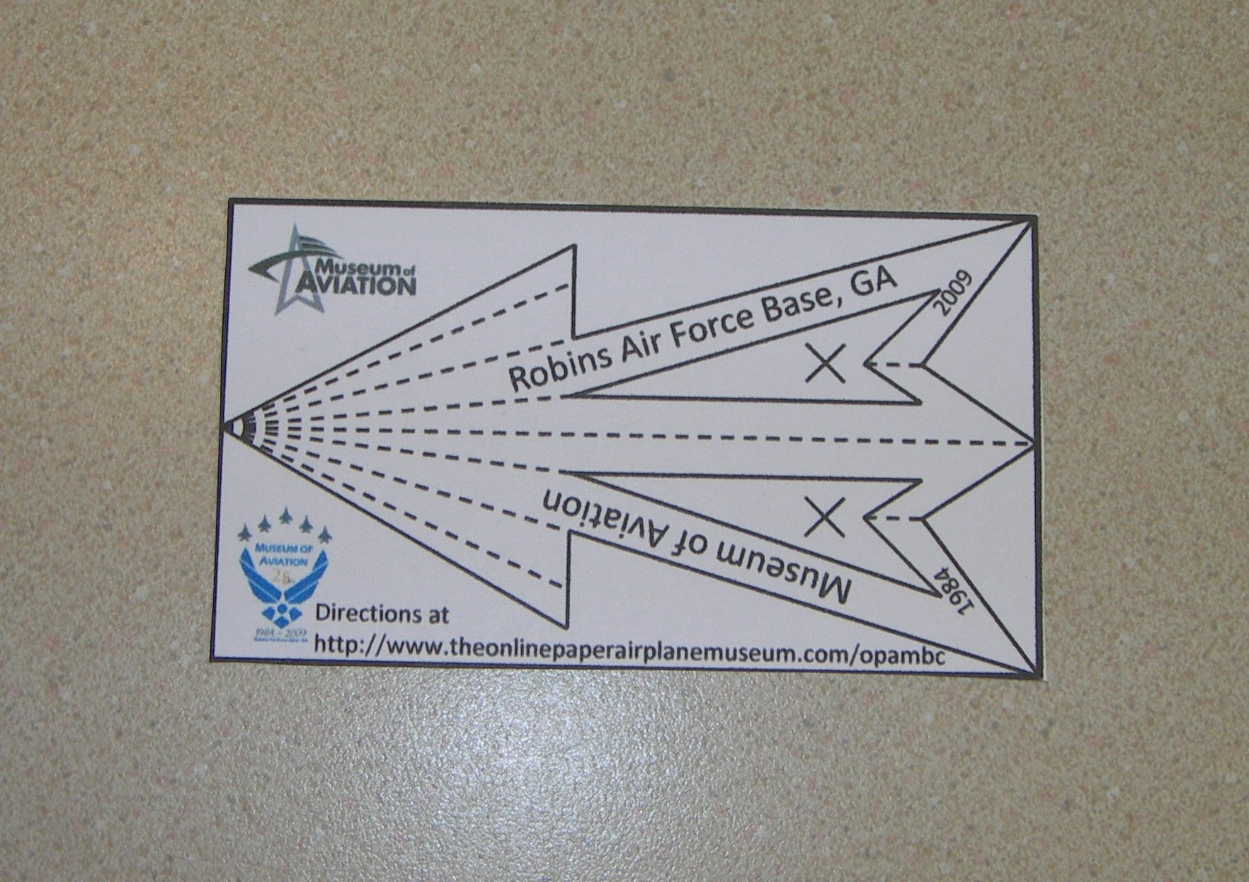 Robins Air Force Base, Business Card 1, The Online Paper Airplane Museum